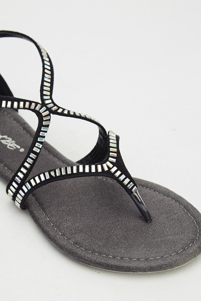 Embellished Ankle Strap Sandals