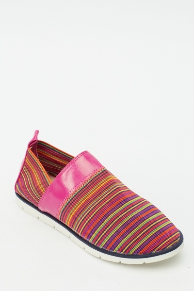Striped Contrast Slip On Shoes