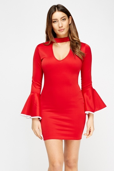 Choker Neck Flare Sleeves Dress
