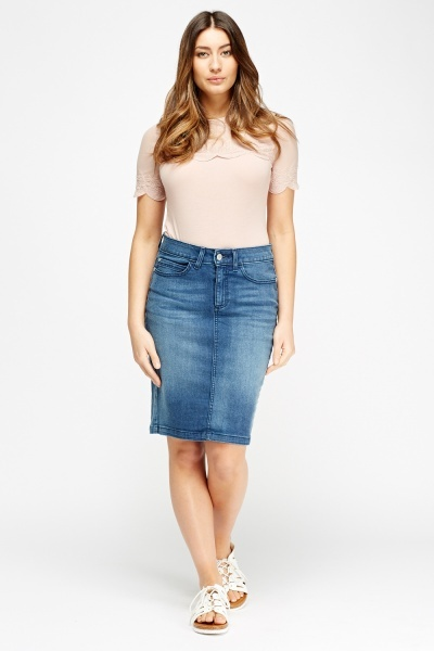 Denim Blue Midi Skirt
