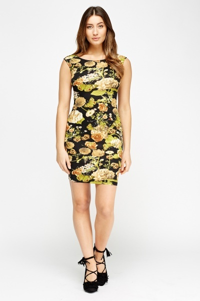 Floral Black Bodycon Dress