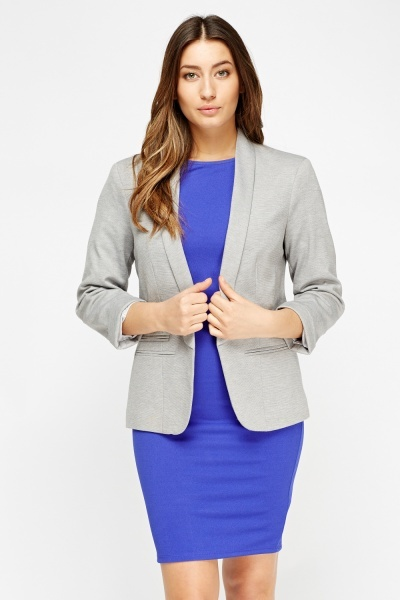 Open Front Grey Fitted Blazer