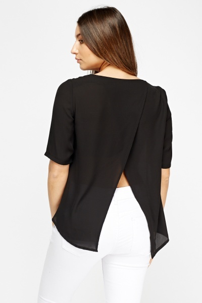 Wrapped Back Black Top