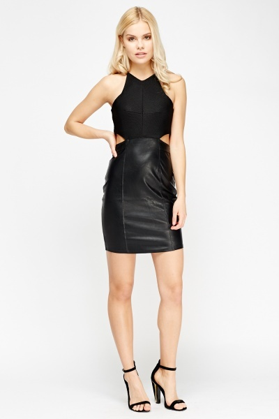 Image of Contrast Cut Out Side Mini Dress
