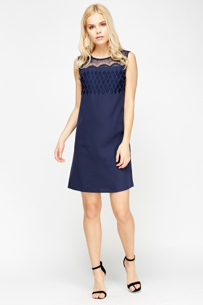 Mesh Insert Bodice Shift Dress