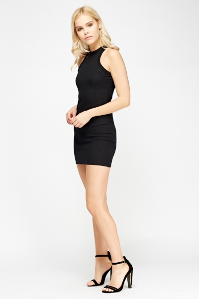 Ribbed High Neck Mini Bodycon Dress