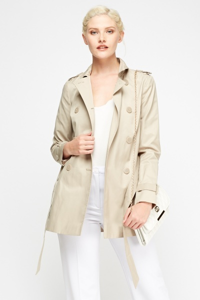 Beige Double Breasted Mac Coat