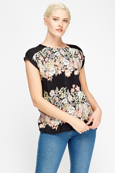Contrast Floral Basic Top