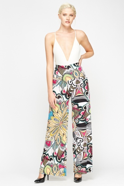 Mixed Print High Waist Palazzo Trousers
