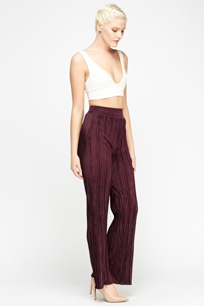 Pleated High Waisted Wide Leg Trousers