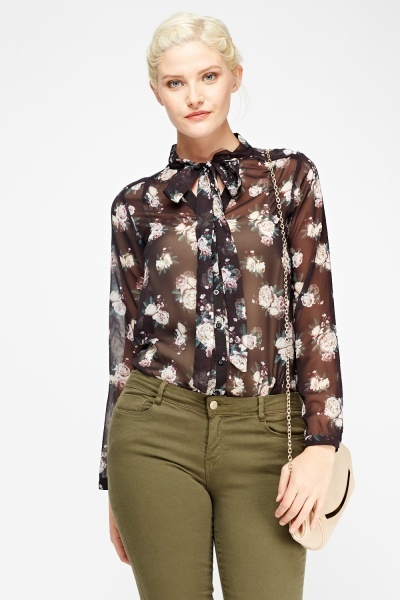 Sheer Tie Neck Floral Blouse