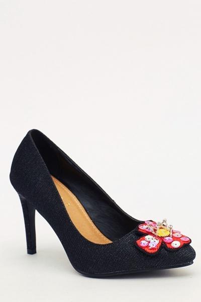 3D Flower Lurex Heels