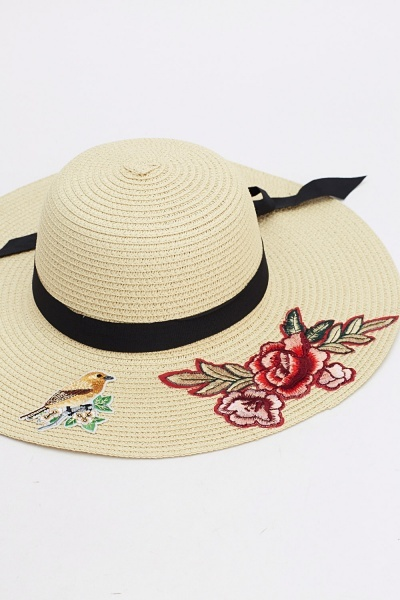 Image of Badged Bow Floppy Sun Hat