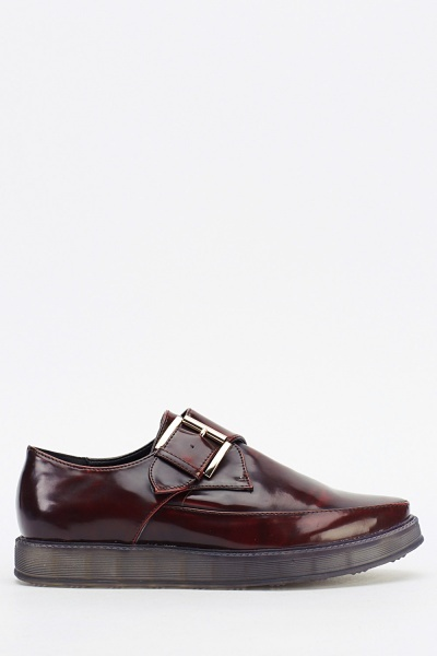 Buckle Side Court Slip On Shoes
