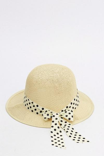Image of Polka Dot Bow Floppy Sun Hat