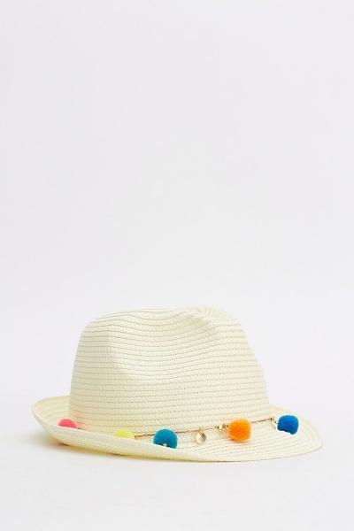Pop Pom Panama Hat