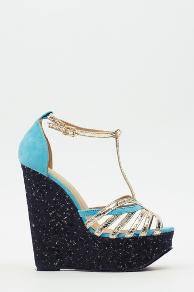 Speckled Contrast Wedge Sandals