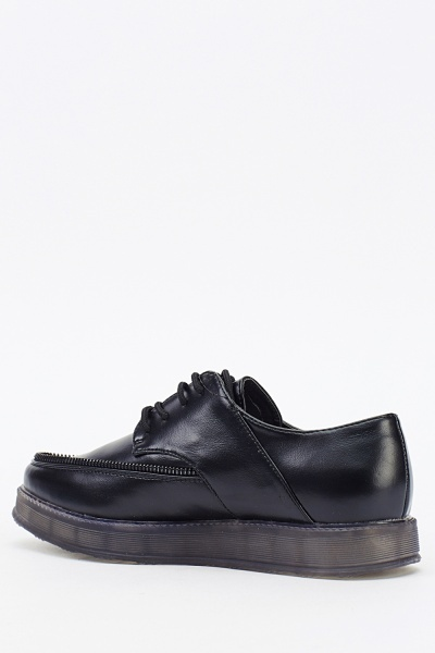 Zipped Trim Platform Shoes