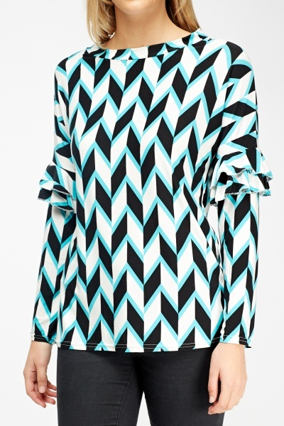 Aztec Print Frilled Sleeve Top