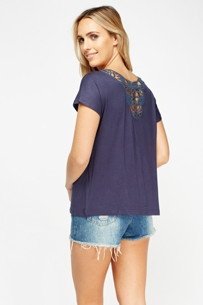 Crochet Back Navy Top