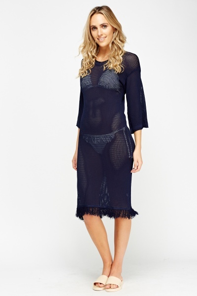 Mesh Beach Long Cover Up