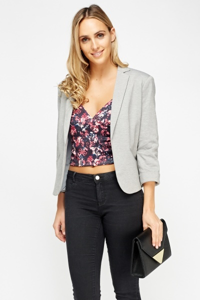 Open Front Grey Blazer