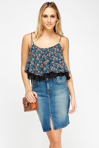Printed Frilled Cami Overlay Top