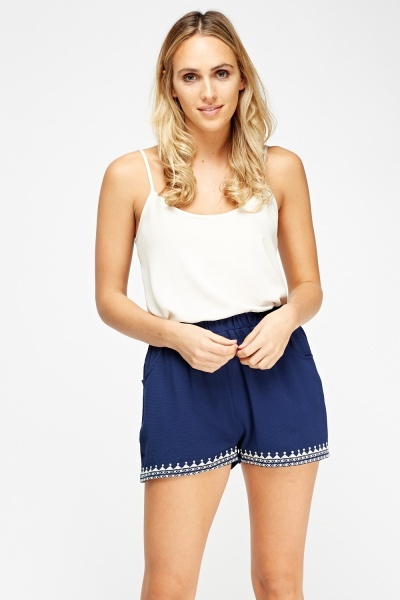 Printed Trim Elasticated Shorts
