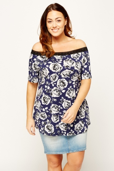 Rose Printed Off Shoulder Top