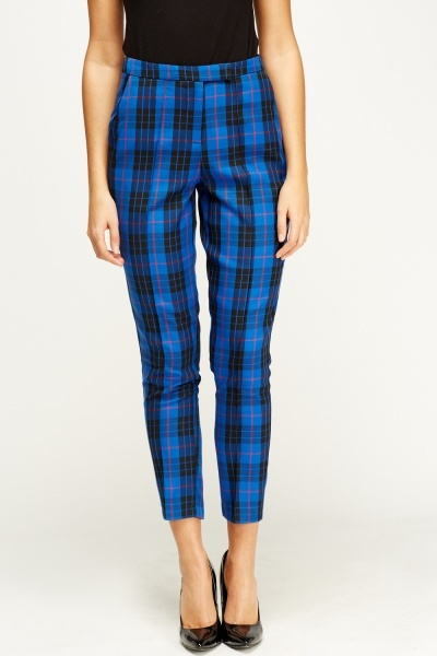 Check Grid Printed Cigarette Trousers