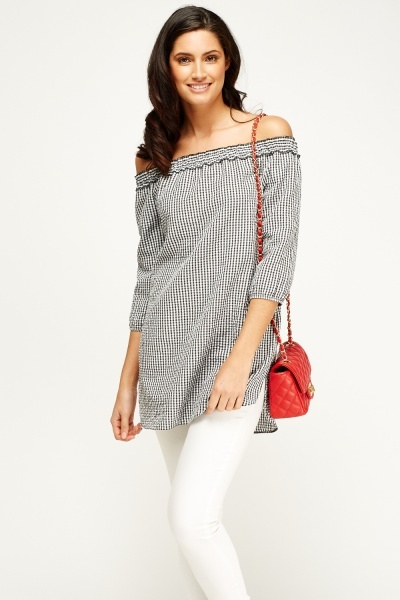 Checked Elasticated Off Shoulder Top