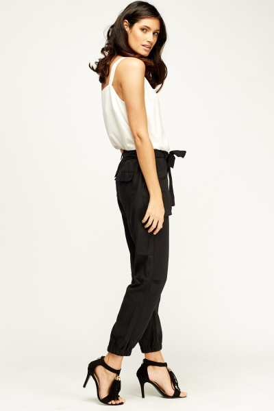 Elasticated Tied Waist Chino Trousers