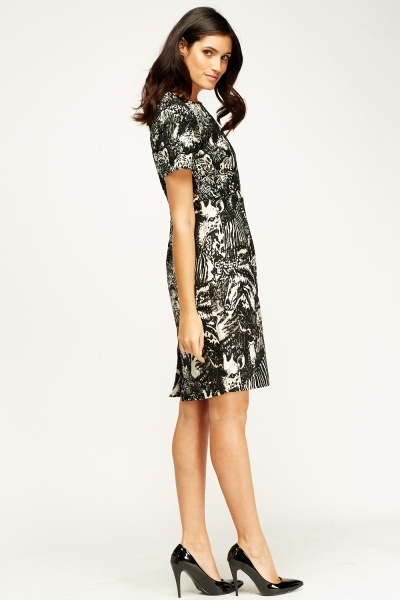 Metallic Insert Printed Dress