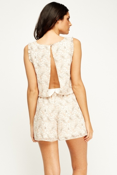 Off White Floral Playsuit