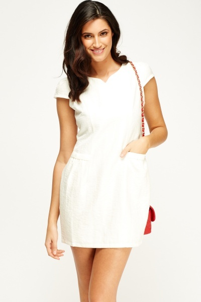 Textured Cap Sleeve Dress