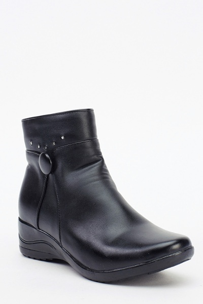 Encrusted Black Faux Leather Boots