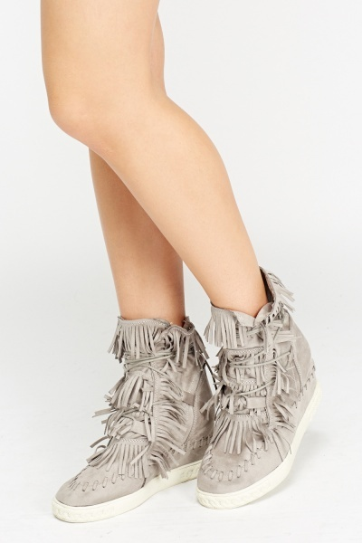 Fringed Suedette High Top Trainers