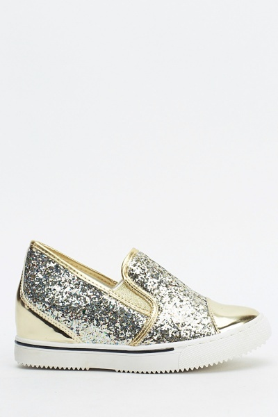 Glitter Contrast Slip On Wedge Shoes