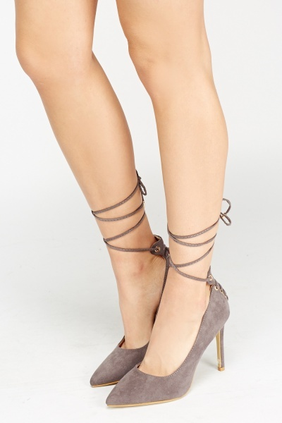 Lace Up Court Suedette Heels