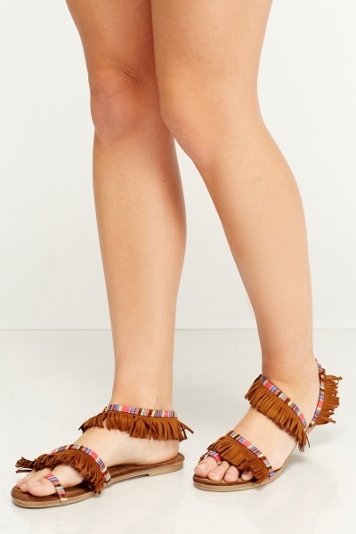 Tassled Slip On Sandals