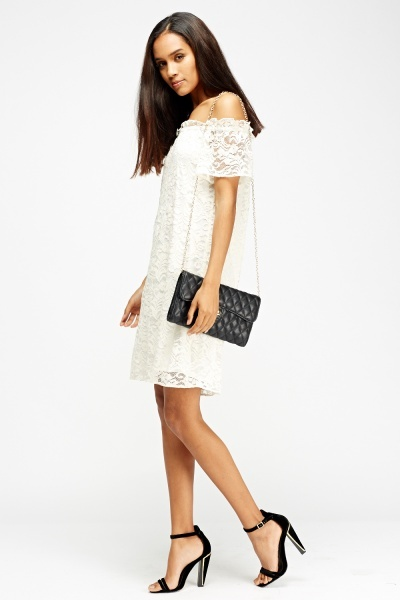 Cream Lace Overlay Off Shoulder Dress
