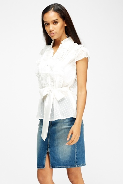 Frilled Contrast Tie Up Top
