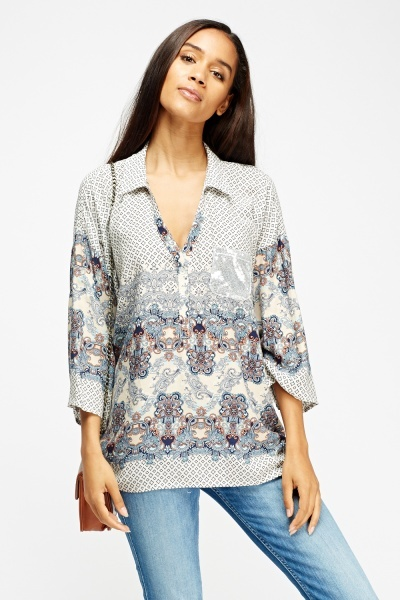 Mixed Print Blouse