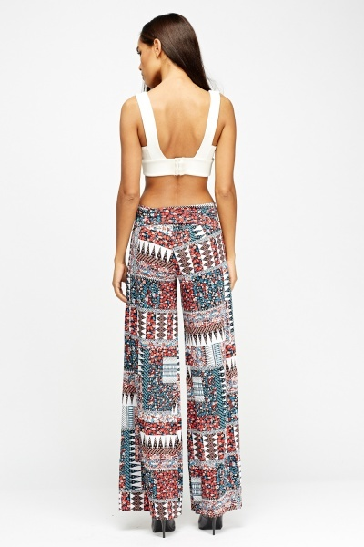 Patched Printed Palazzo Trousers