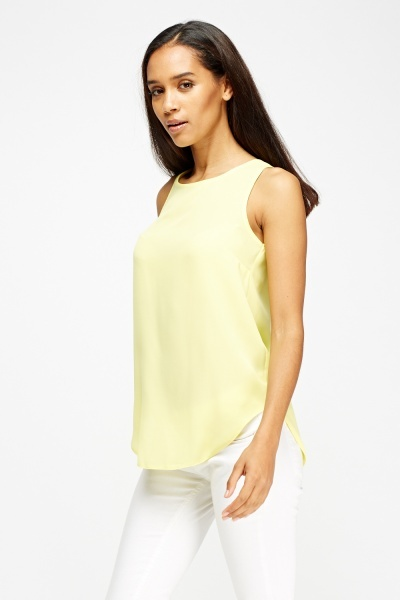Sheer Yellow Tank Top