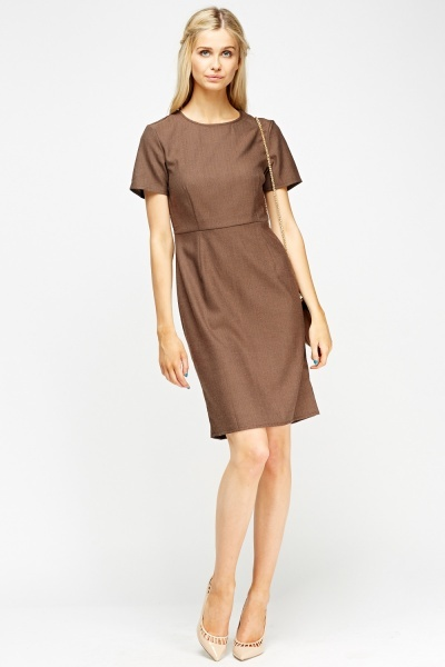 Brown Pencil Midi Dress