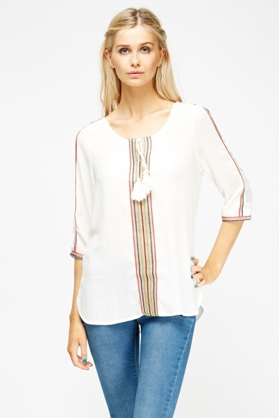 Embellished Trim Tunic Top