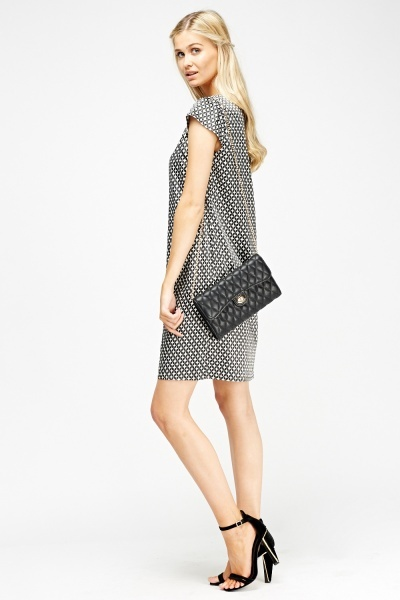 Mono Print Sateen Box Dress