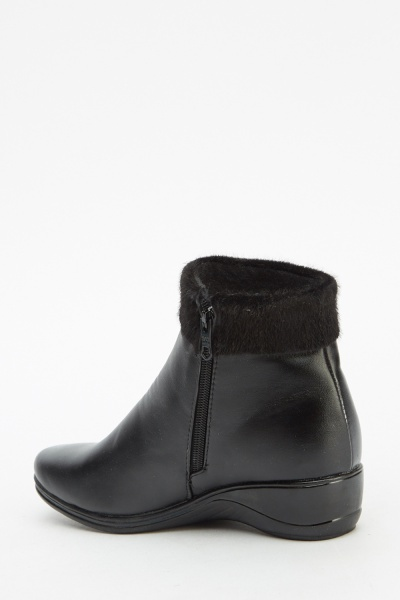 black wedge ankle contrast boots just 163 5