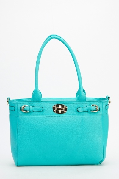 Image of Faux Leather Twist Lock Bag